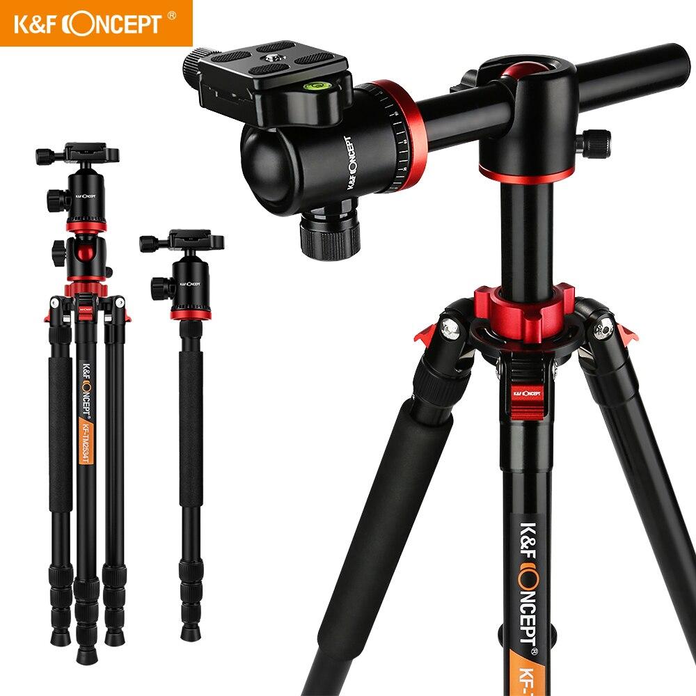 K&F Concept TM2534T DSLR Camera Tripod 66' Magnesium Aluminium Monopod Professional Tripods W/ 360° Ball Head for Canon Nikon